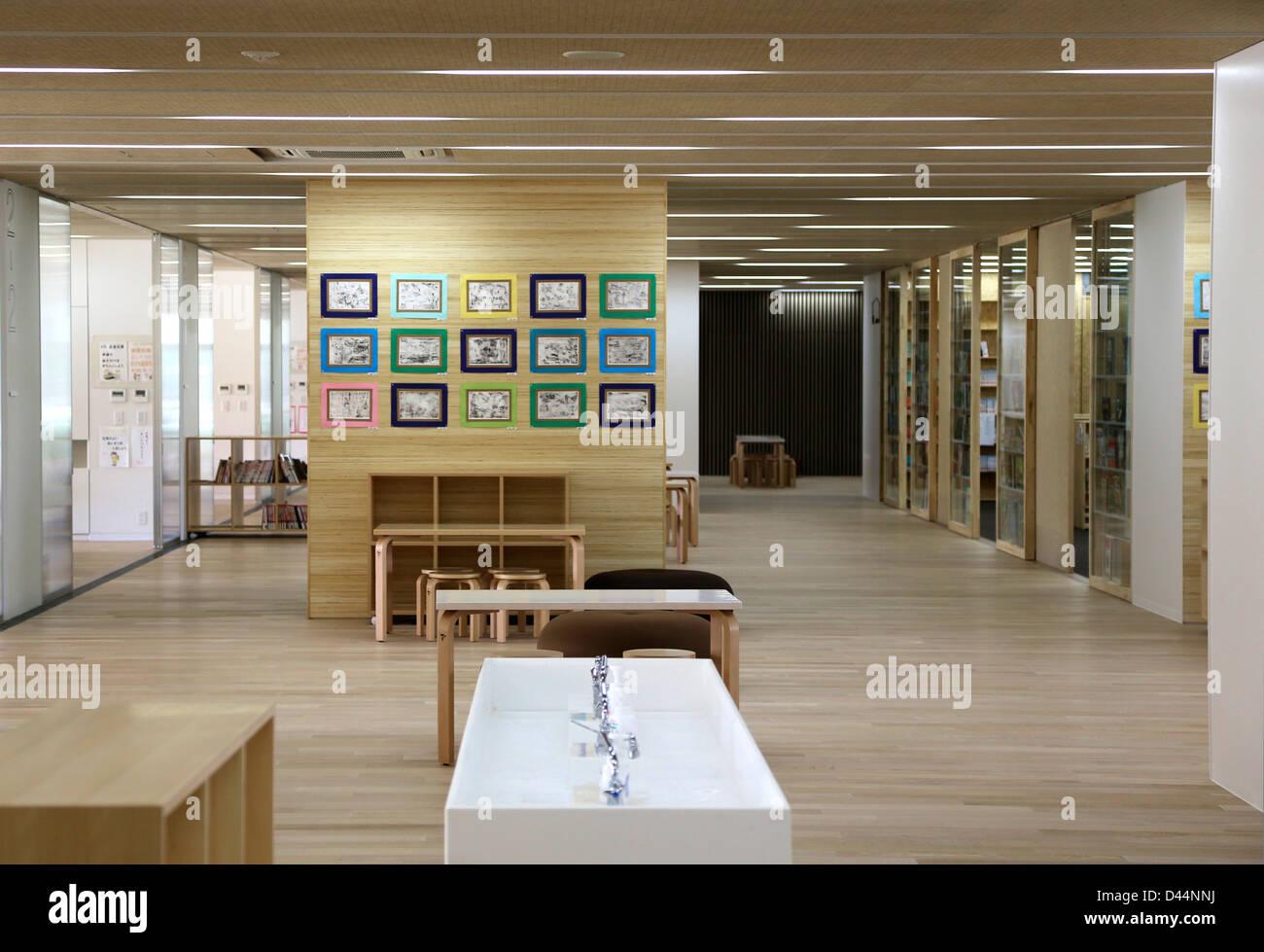 Lovely Teikyo University Elementary School, Tokyo, Japan. Architect: Kengo Kuma,  2012. Interior View Main Corridor On Ground Floor.
