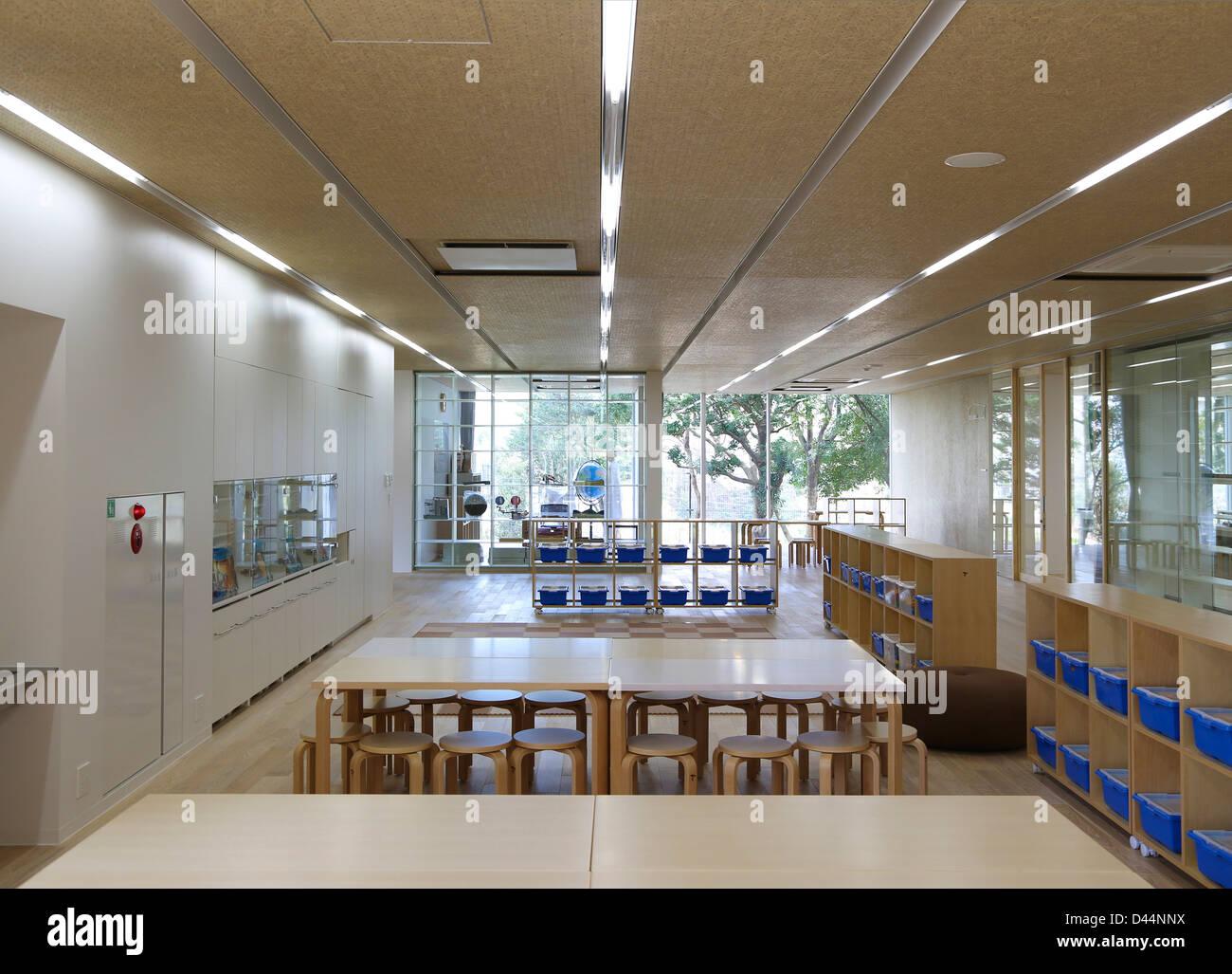 Teikyo University Elementary School, Tokyo, Japan. Architect: Kengo Kuma,  2012. Interior View Typical Classroom On Top Floor.