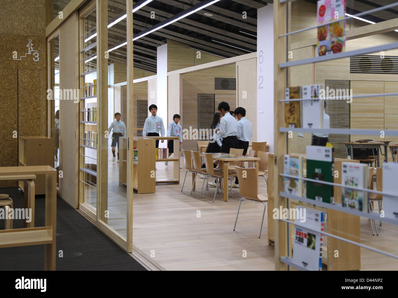 Good Teikyo University Elementary School, Tokyo, Japan. Architect: Kengo Kuma,  2012. Interior View Upper Floor.