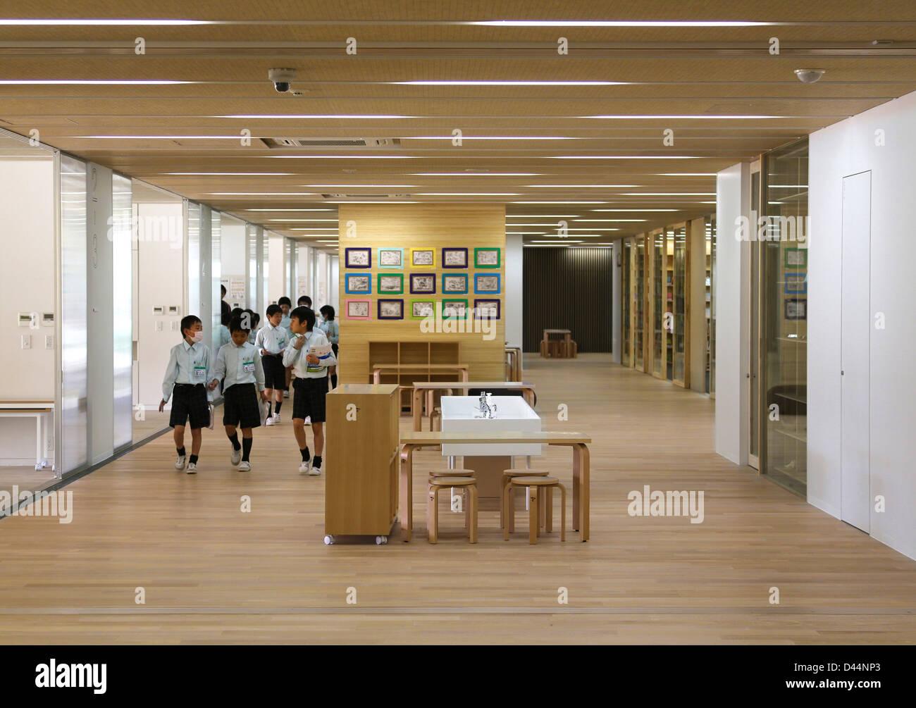 Teikyo University Elementary School, Tokyo, Japan. Architect: Kengo Kuma,  2012. Interior View Corridor On Ground Floor.