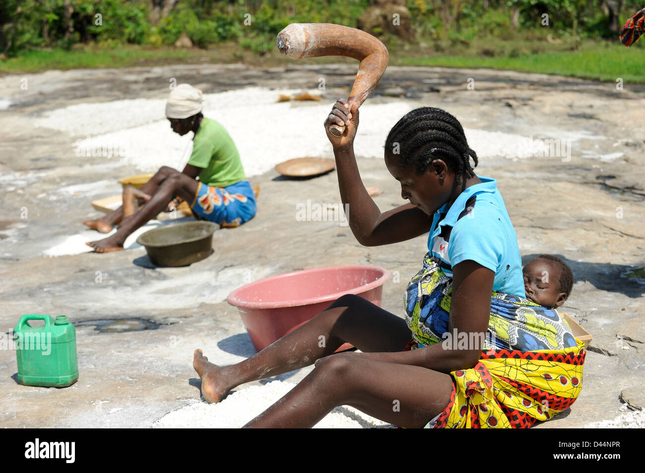 ANGOLA Kwanza Sul, rural development project, village Catchandja, women mash Cassava to flour which is the stable - Stock Image