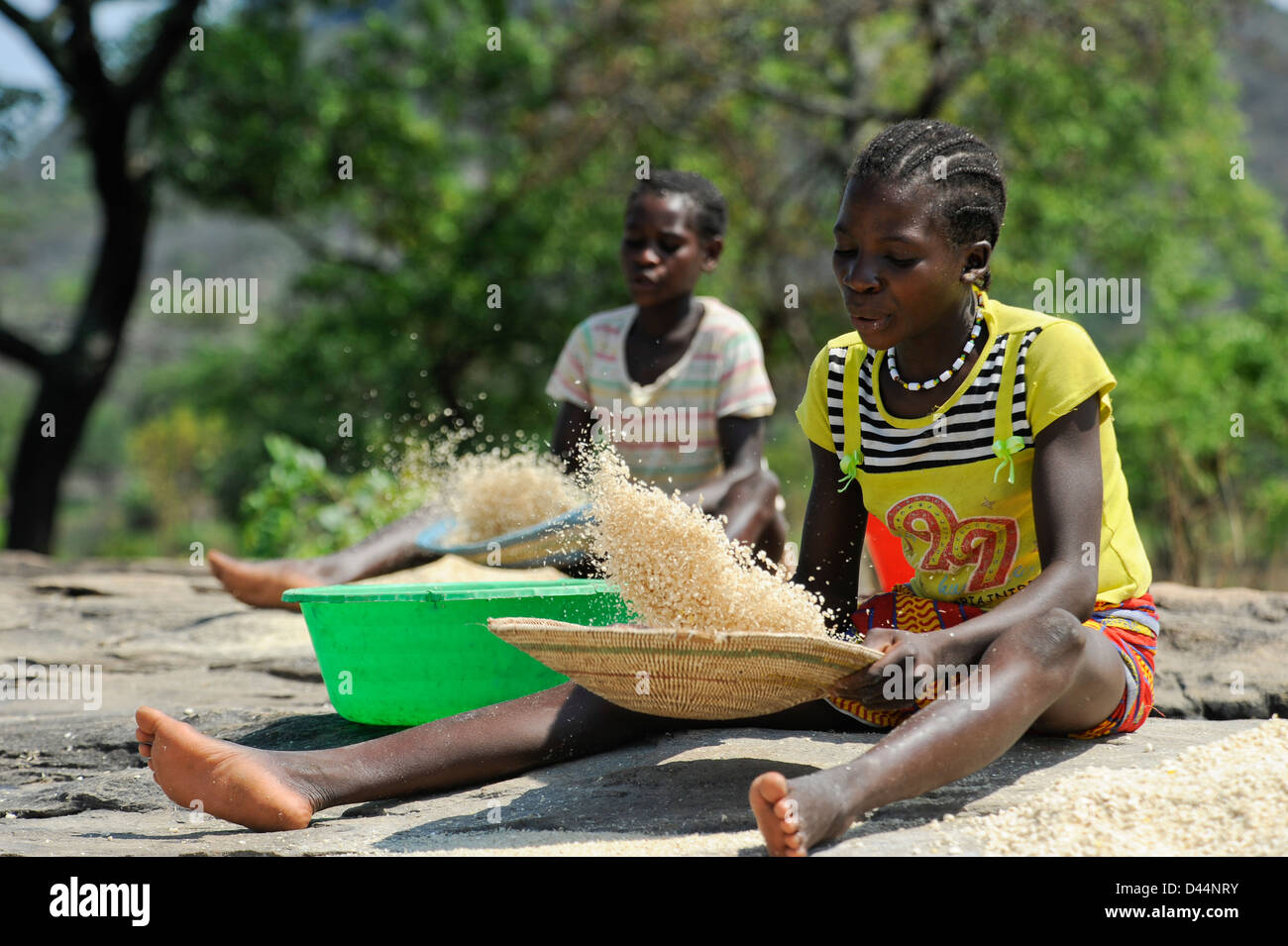 ANGOLA Kwanza Sul, rural development project, village Catchandja, girl winnowing maize, which is the stable food - Stock Image