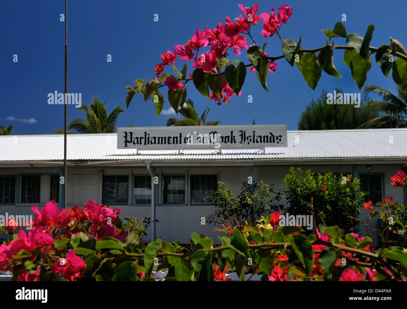 Exterior of Cook Islands' Parliament in Rarotonga, the tin roofed building near the airport was apparently a - Stock Image