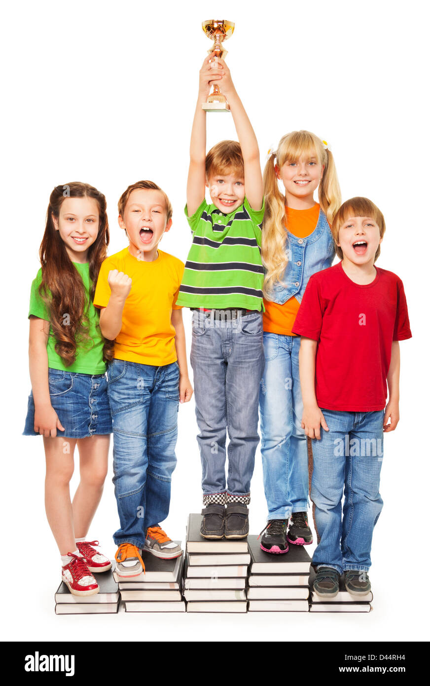 boys and girls shouting and cheering holding their superbowl - Stock Image