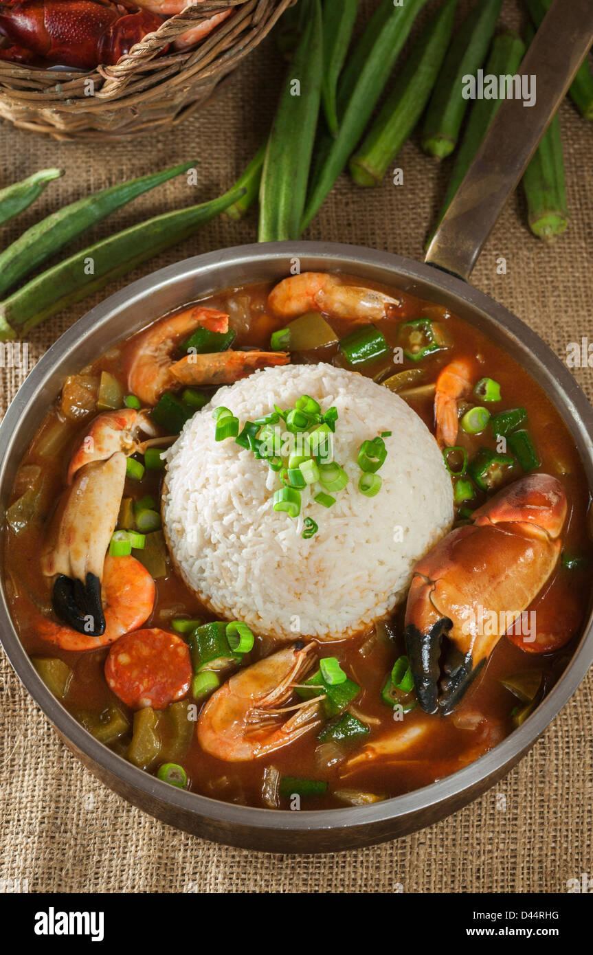 Crab and shrimp gumbo Louisiana Food - Stock Image