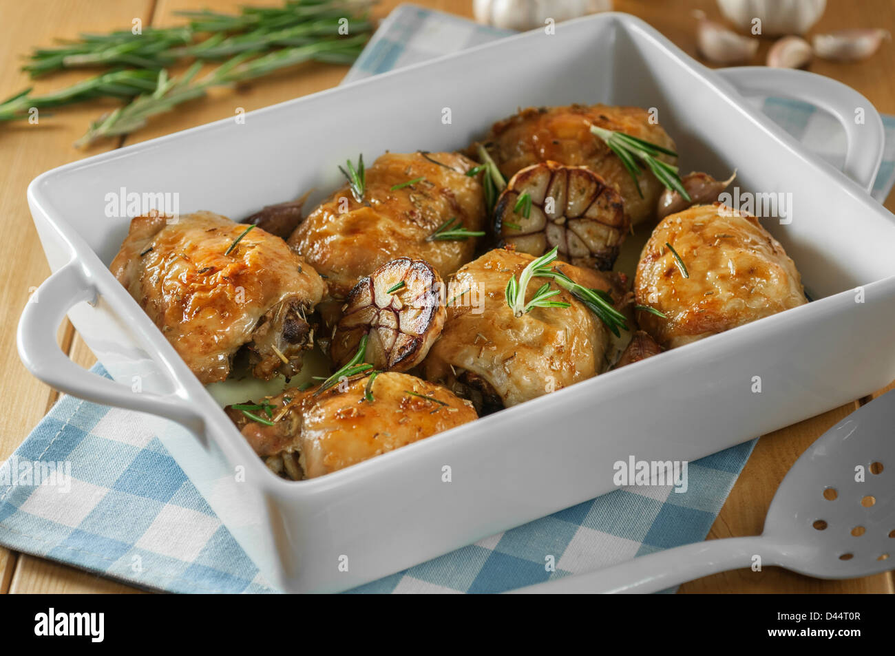 Roast chicken with rosemary and garlic - Stock Image