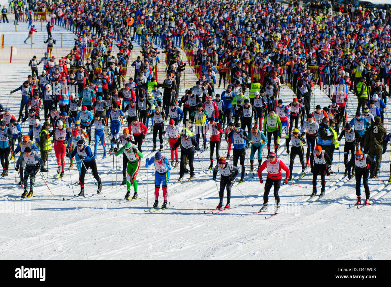 Participants during the Bieg Piastow cross-country race, Jakuszyce, Poland. - Stock Image