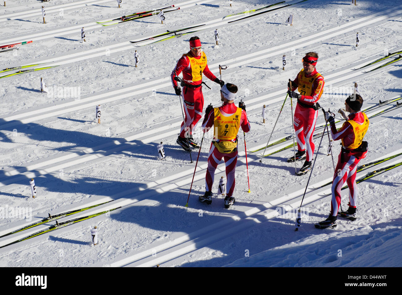 A Cross-country ski team before the Bieg Piastow race, Jakuszyce, Poland. - Stock Image