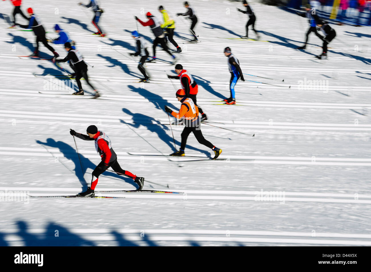 Participants at the Bieg Piastow cross-country race, Jakuszyce, Poland. - Stock Image