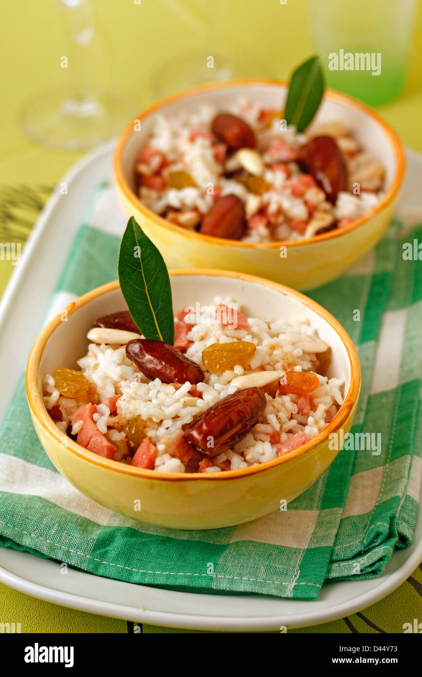 Paradise rice (with dates) Recipe available. - Stock Image