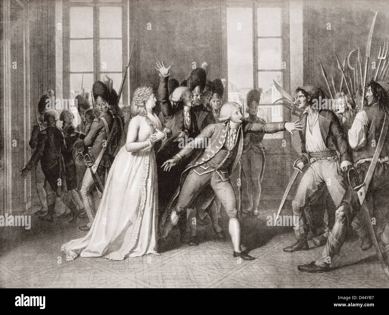Princess Élisabeth of France, presents herself as Marie-Antoinette to Jacques Maillard during storming of the - Stock Image