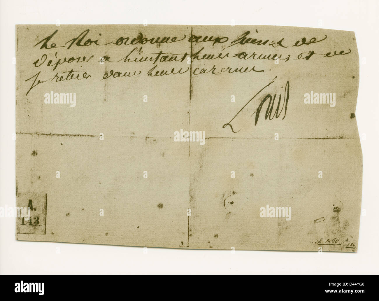 Last order signed by Louis XVI when he had taken refuge with the Legislative Assembly, 10 August 1792. - Stock Image