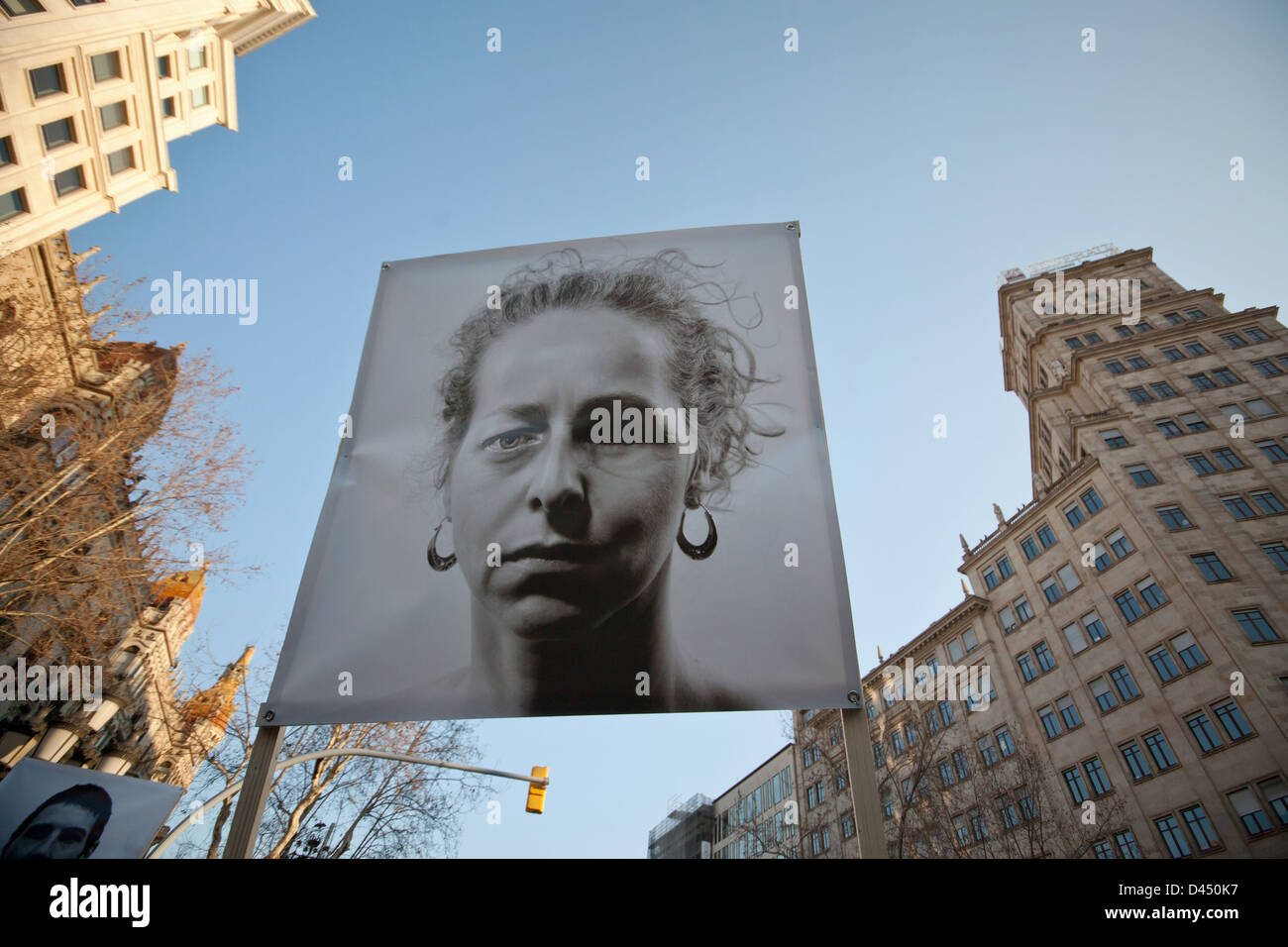 Cartel de la columna antirepresiva de la manifestación del 23F celebrada en Barcelona - Stock Image