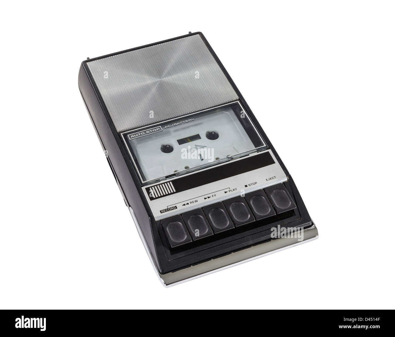 Vintage portable cassette tape player and recorder. - Stock Image