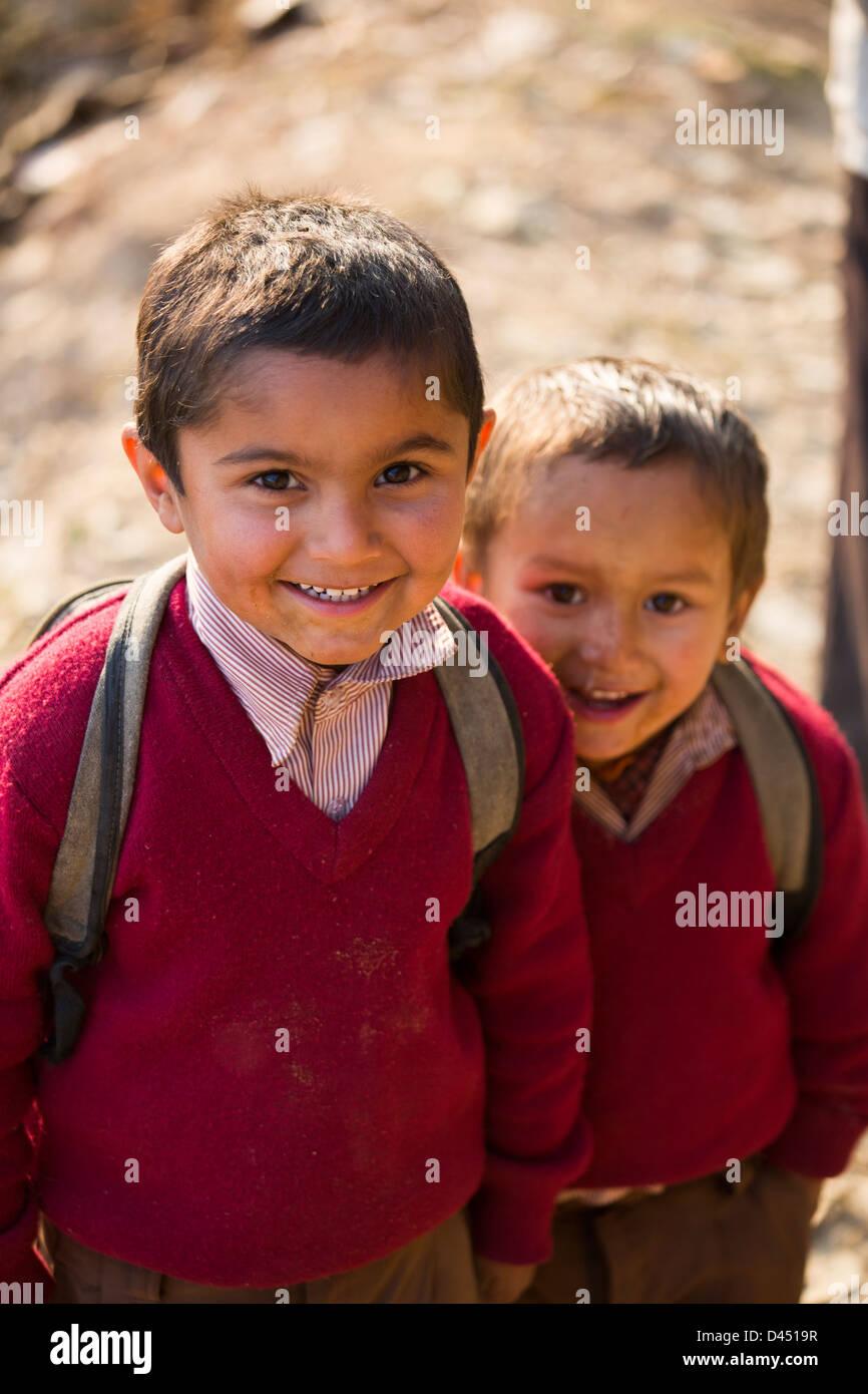 Young boys, Panauti village, near Kathmandu, Nepal - Stock Image
