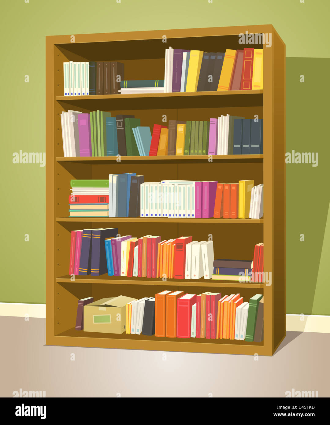 Illustration Of A Cartoon Home Or School Wooden Bookshelf Inside Library Store With Books Rows