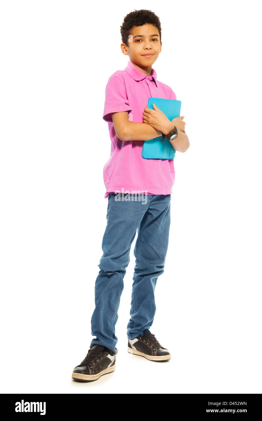 Cute 10 years old black boy standing with tablet computer, full height,  isolated on white