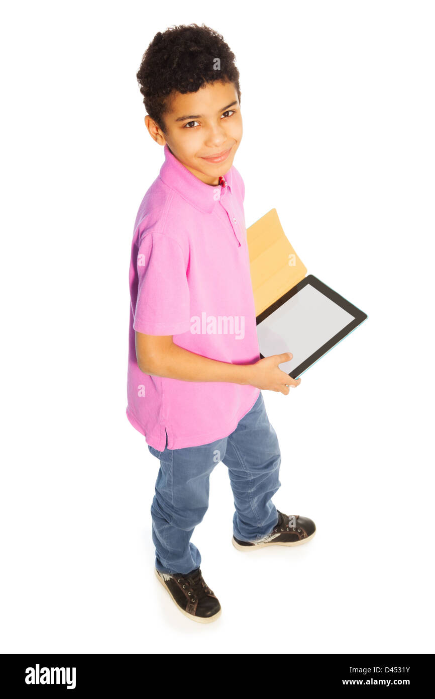 Cute 10 Years Old Black Boy Standing With Tablet Computer Full