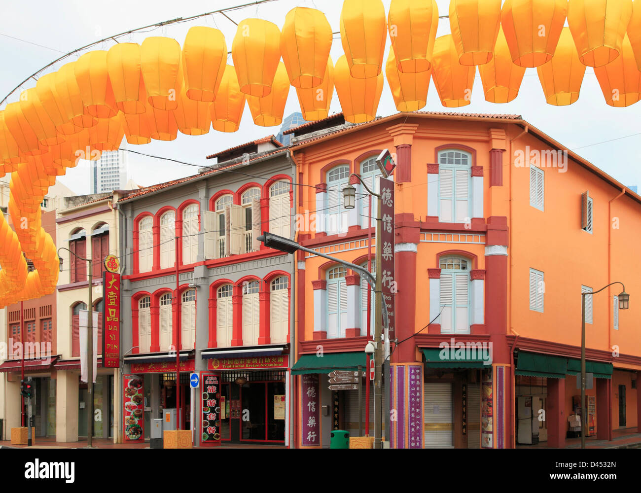 Singapore, Chinatown, shophouses, street scene, typical architecture, - Stock Image