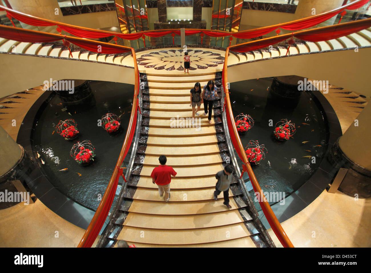 Singapore, Fullerton Hotel, lobby, - Stock Image
