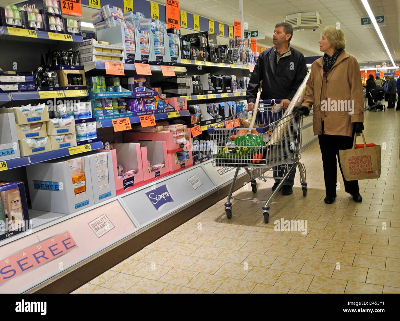 Inside a Lidl store supermarket interior - Stock Image