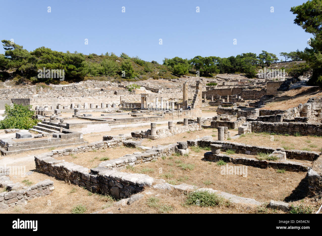 Rhodes. Greece. View of the archaeological site of Ancient Kameiros, set idyllically on the west coast of Rhodes - Stock Image