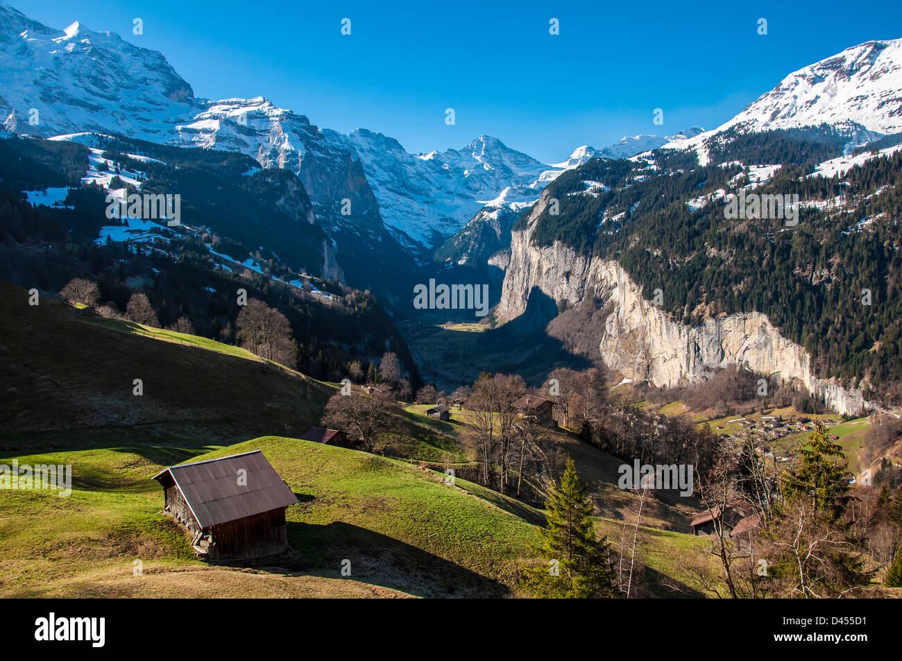 Jungfrau, Lauterbrunnen Wall and Lauterbrunnen Valley - Stock Image