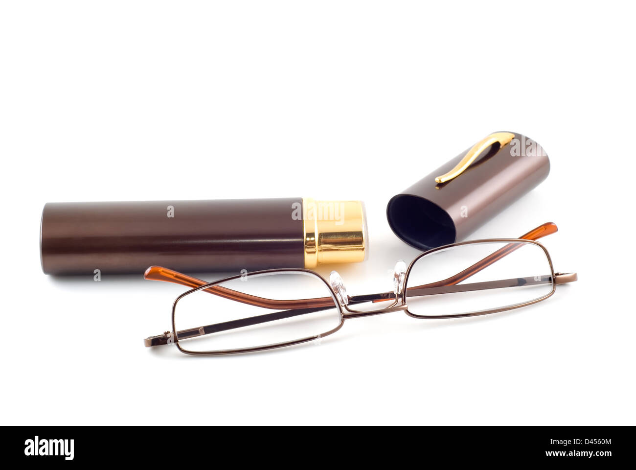 Spectacles and spectacle-case are photographed close-up on the white background - Stock Image