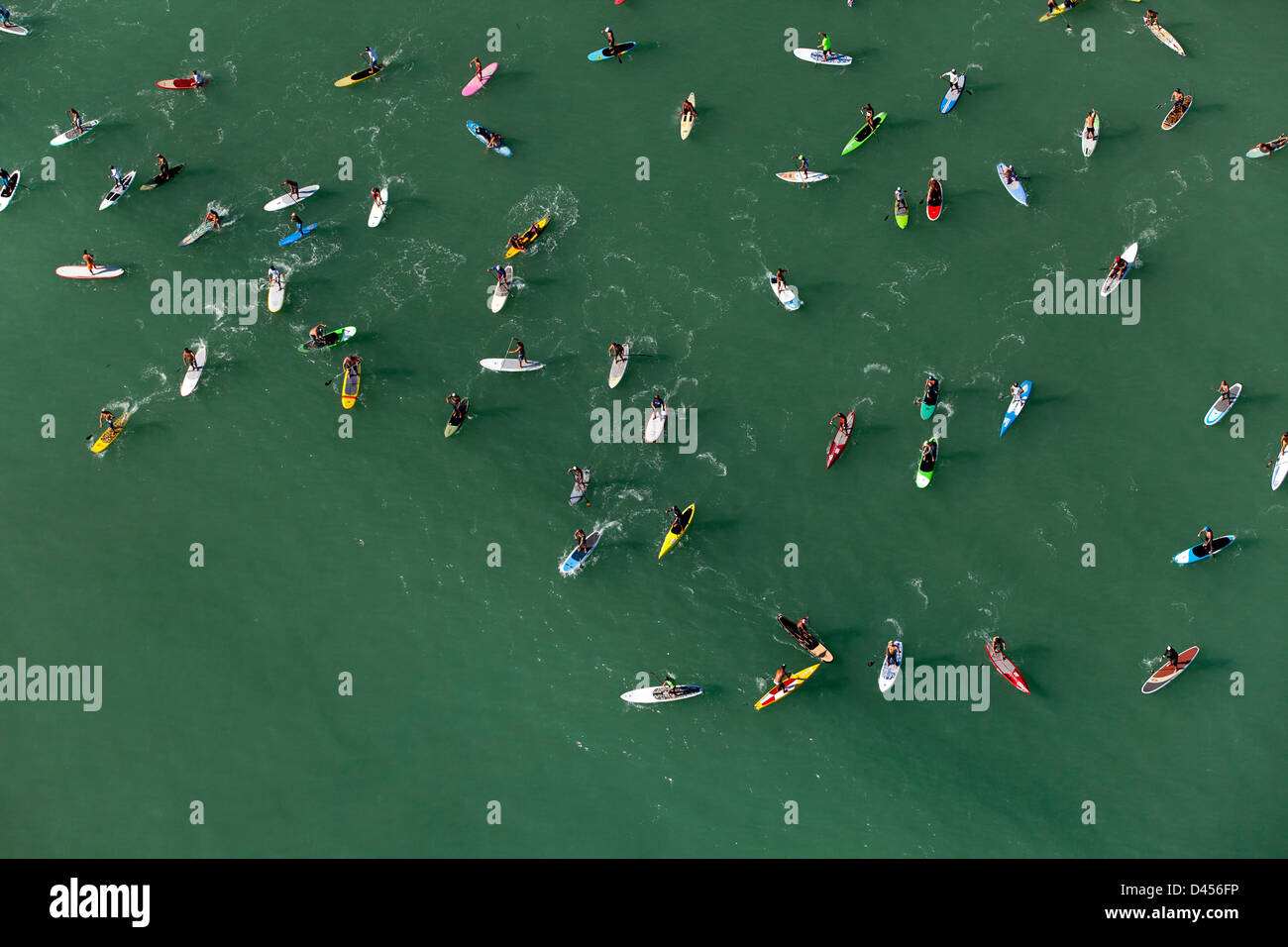 Battle Of the Paddle, Dana Point CA Aerial - Guinness World Record, attempting to break the existing record for - Stock Image