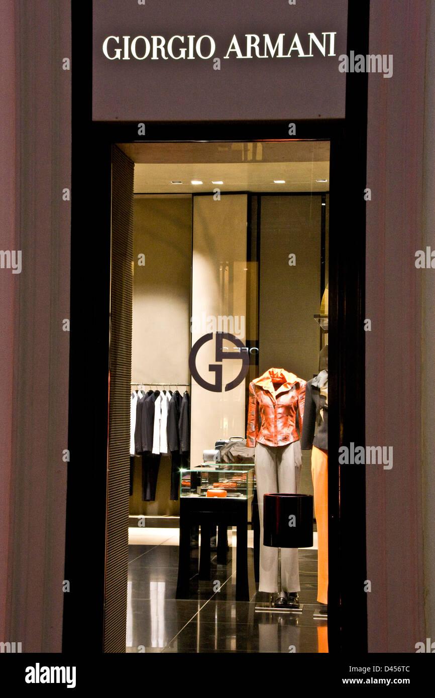 Giorgio Armani boutique designer store Milan Lombardy Italy Europe - Stock  Image 3fcecad91558