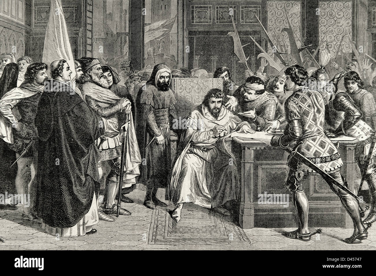 Walter VI, Count of Brienne (1302-1356), Conversano and Lecce. Duke of Athens. Expulsion of Florence of the Duke - Stock Image