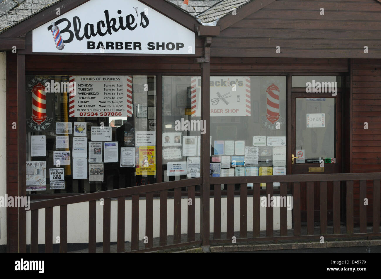 Liskeard, Cornwall, UK. 5th March 2013. A barber silenced by Cornwall Council for using a loud hailer to warn drivers - Stock Image