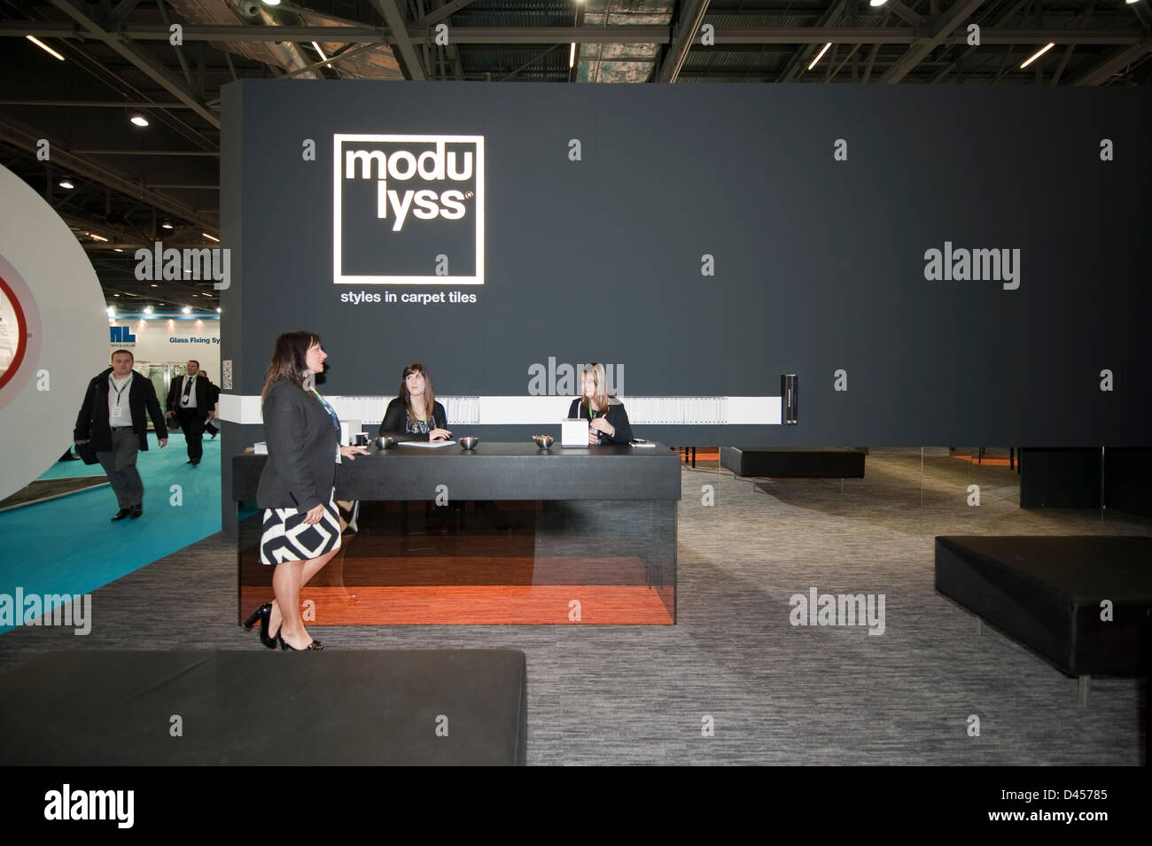 The Modulyss stand featuring carpet tiles at the largest showcase of sustainable construction products in the world opening for 3 days at Excel in London, ...