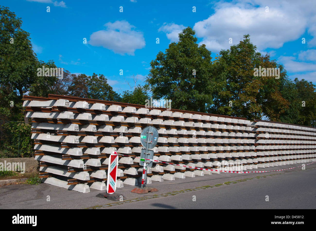 Tram tracks stacked up for replacing old ones Zizkov district Prague Czech Republic Europe - Stock Image