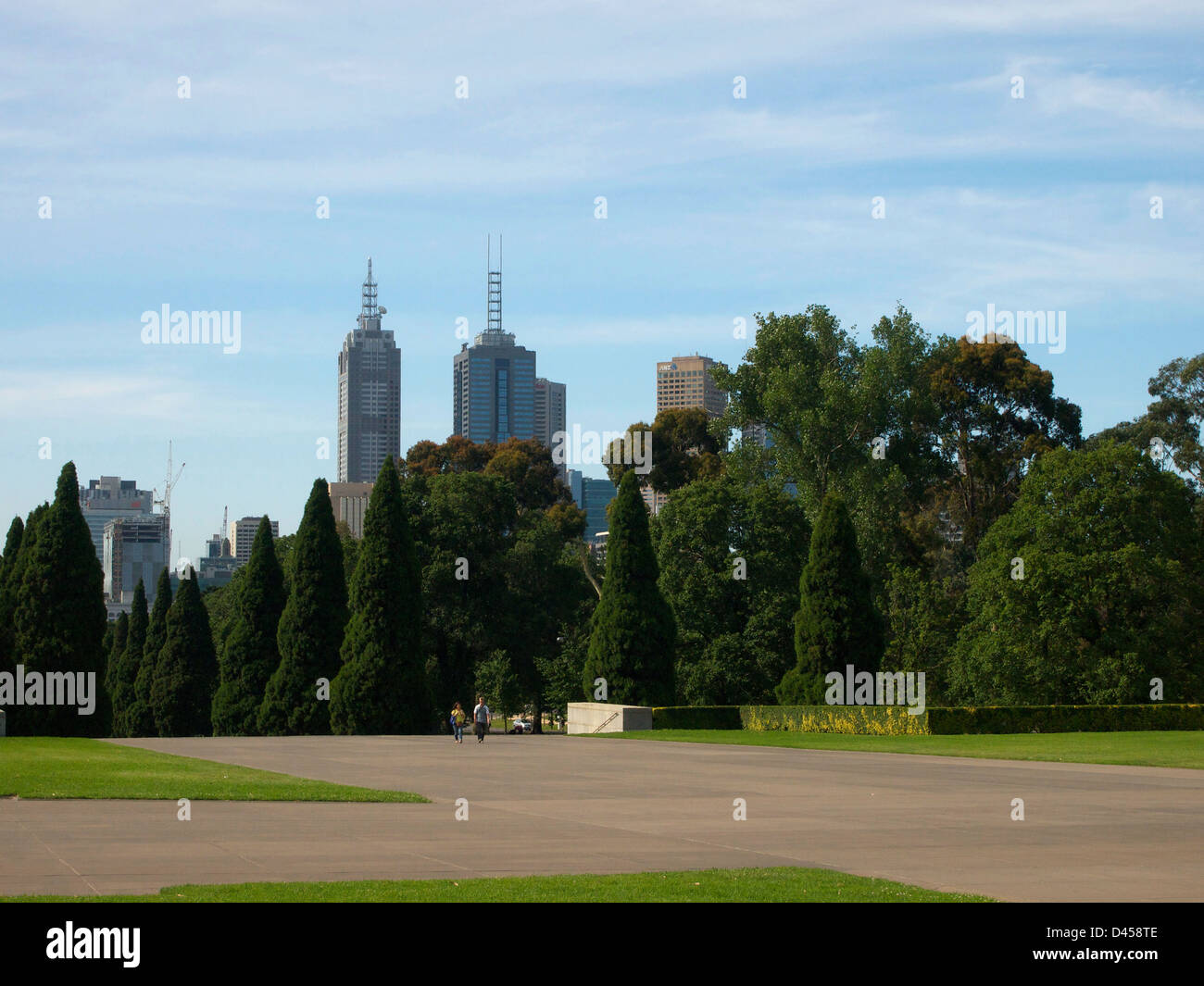 The City seen from the Shrine of Remembrance in Melbourne Australia - Stock Image
