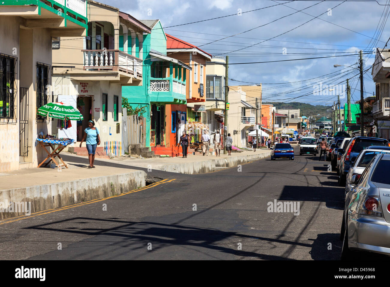 View along Clark Street, Vieux Fort, St Lucia. Clark Street is the main thoroughfare in the town - Stock Image