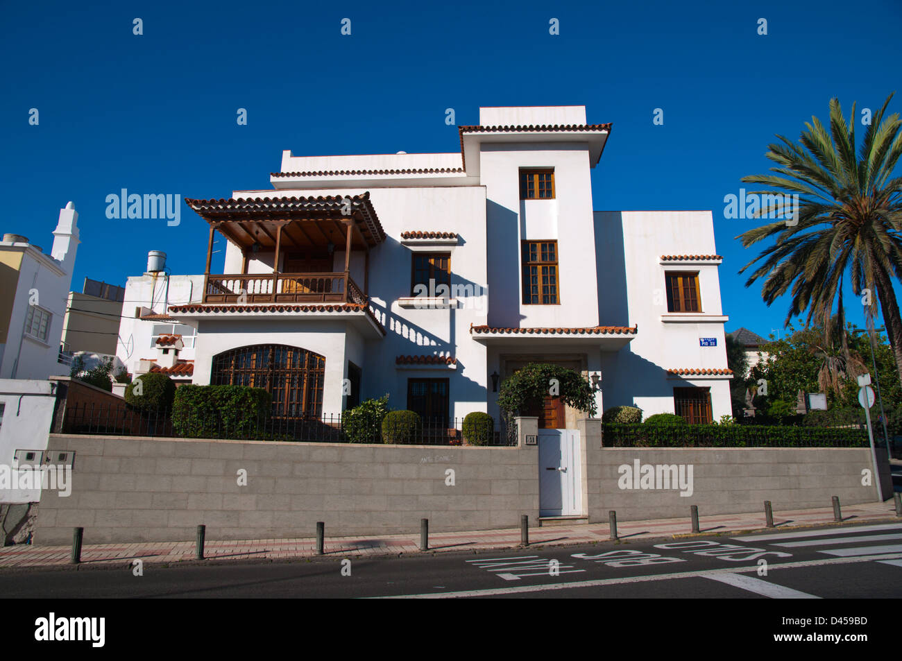 Residential villa El Ciudad Jardin the Garden district Las Palmas de Gran Canaria city Gran Canaria island Spain - Stock Image