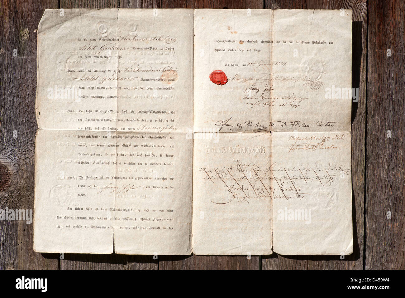 Old document - very old paper with hand writing and stamps - Stock Image
