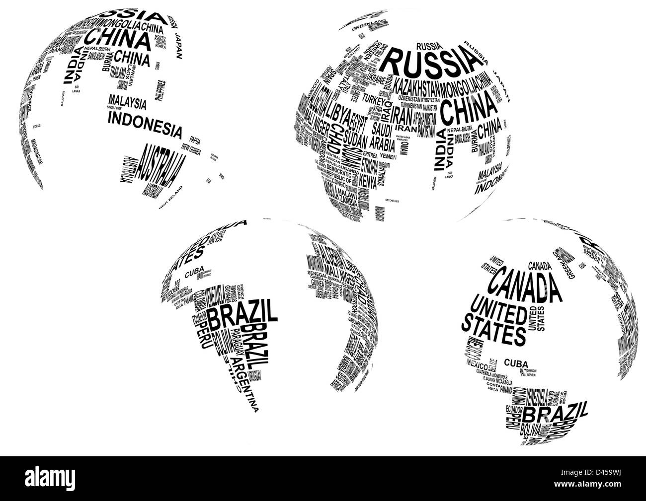 World globe europe black and white stock photos images alamy illustration of world map globe with country name stock image gumiabroncs Image collections