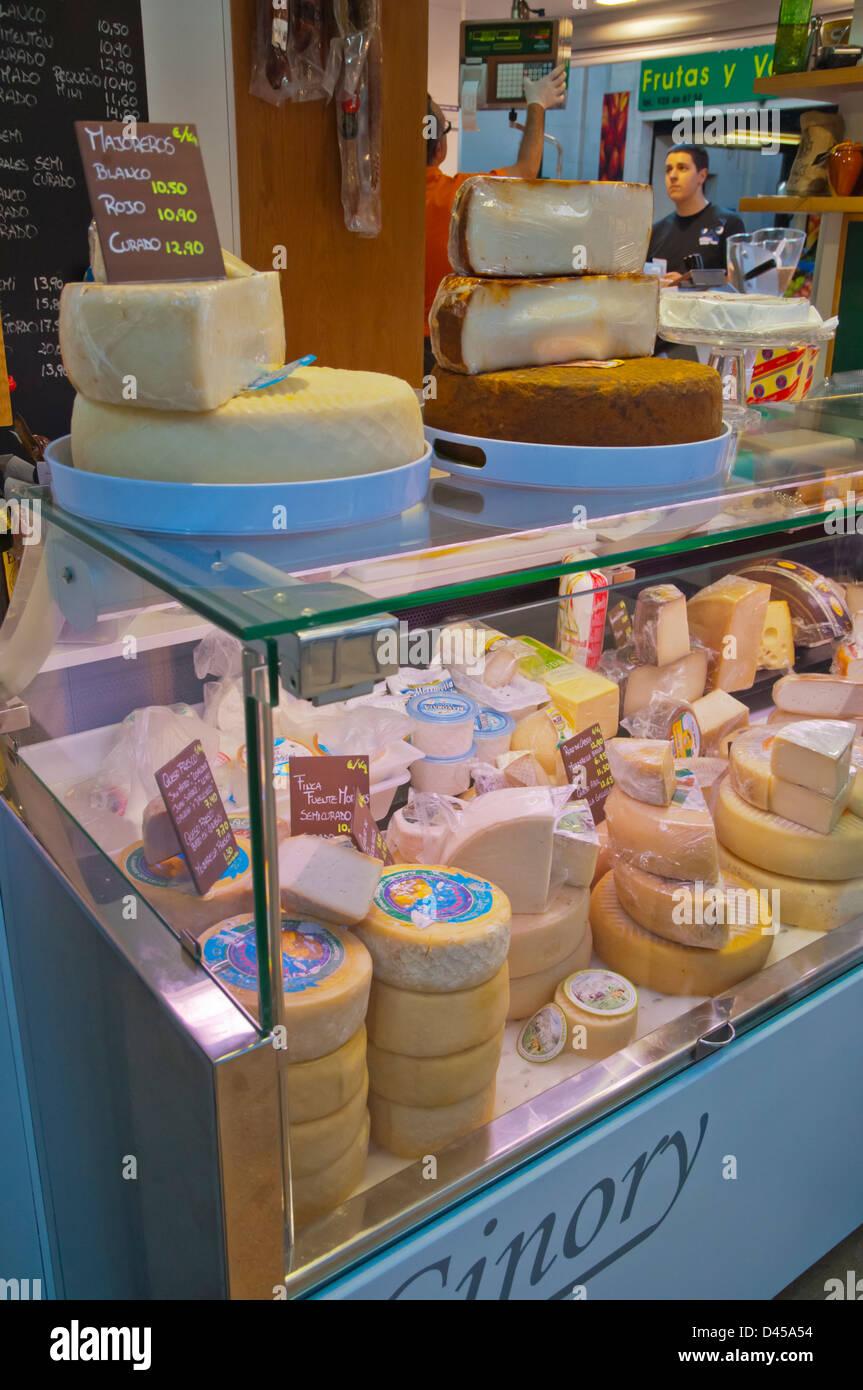 Cheeses in Mercado del Puerto market hall Santa Catalina district Las Palmas city Gran Canaria island the Canary - Stock Image