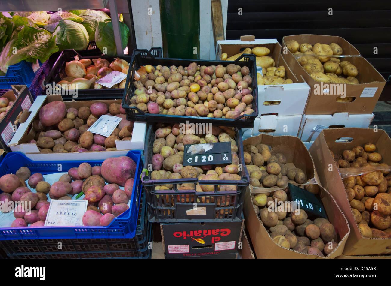 Potatoes in Mercado del Puerto market hall Santa Catalina district Las Palmas city Gran Canaria island the Canary - Stock Image