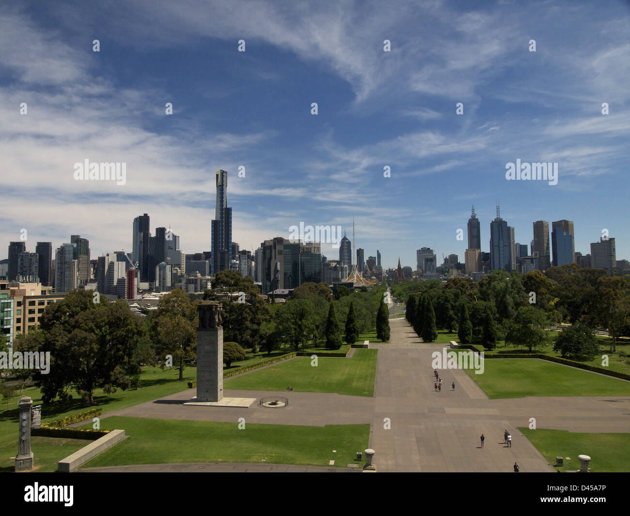 View from the Shrine of Remembrance Melbourne Victoria Australia - Stock Image