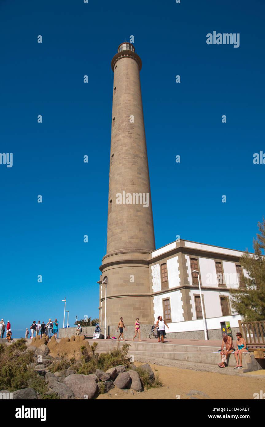 Faro de Maspalomas the lighthouse at Maspalomas resort Gran Canaria island the Canary Islands Spain Europe - Stock Image