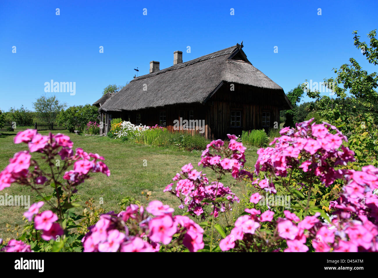 Old fisher-house at Latvian Ethnographic Open-air Museum, near Riga, Latvia - Stock Image