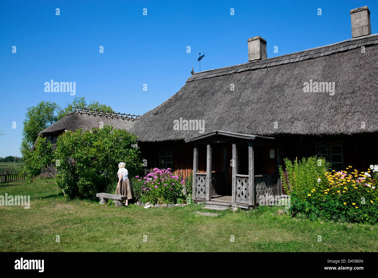 Thatched old Fisher-house at Latvian Ethnographic Open-air Museum, near Riga, Latvia - Stock Image