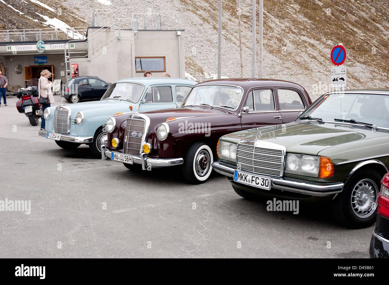 Some oldtimers at Grossglockner High Alpine Road - Stock Image