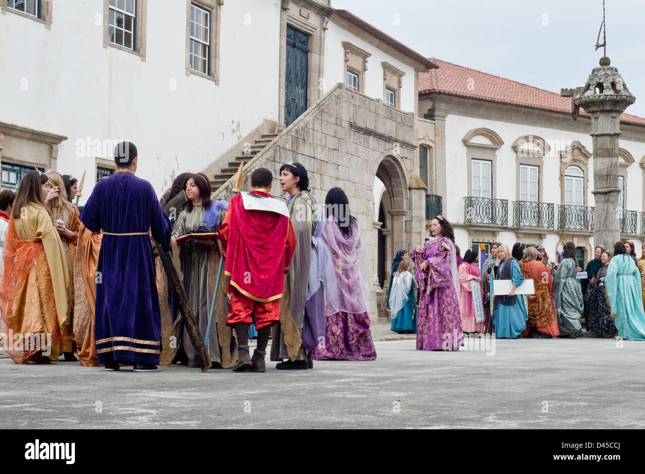 Vila de Conde, Portugal - 3 March 2013: people in traditional costumes  during the celebration of the third Sunday - Stock Image