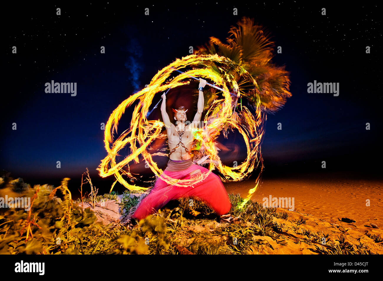 Fire Breather Performer - Stock Image
