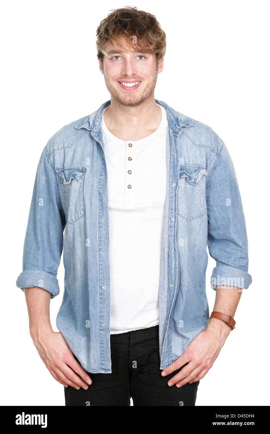 Portrait of happy Caucasian handsome man in casuals looking at camera isolated on white background - Stock Image