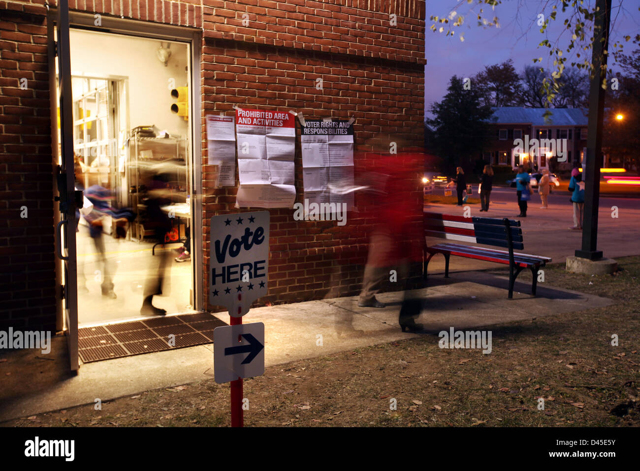 Voting stations in Alexandria, Northern Virginia on Election night, 2012. - Stock Image
